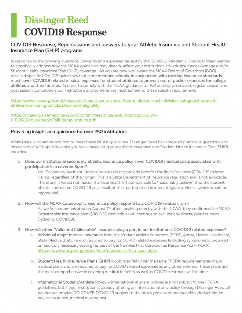 NCAA COVID Recommendations & Policies