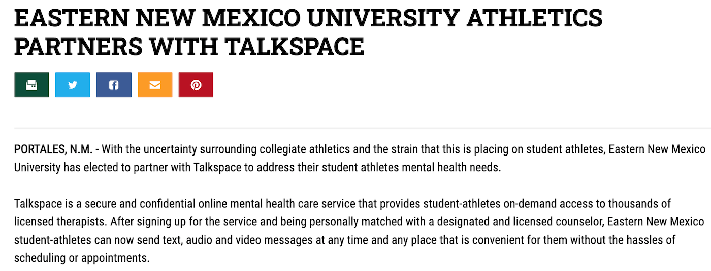 Eastern New Mexico initiates mental health program through Dissinger Reed and Talkspace